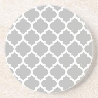 Gray White Moroccan Quatrefoil Pattern #5 Coaster