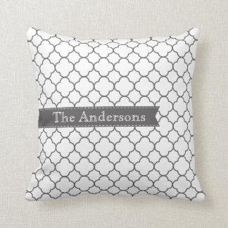 Gray + White Moroccan Stitched Ribbon Cushion