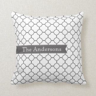 Gray + White Moroccan Stitched Ribbon Throw Pillow