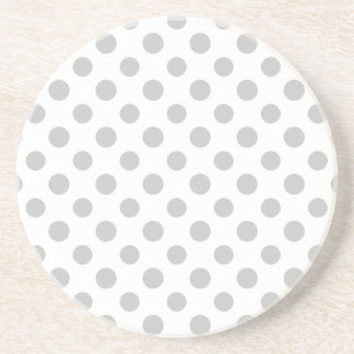 Gray White Polka Dots Pattern Coaster