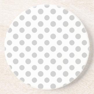 Gray White Polka Dots Pattern Drink Coaster