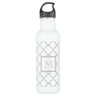 Gray White Quatrefoil | Your Monogram 710 Ml Water Bottle