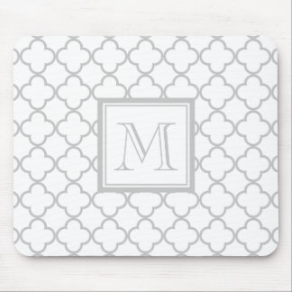 Gray White Quatrefoil | Your Monogram Mouse Mat