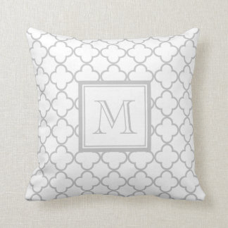 Gray White Quatrefoil | Your Monogram Throw Pillow