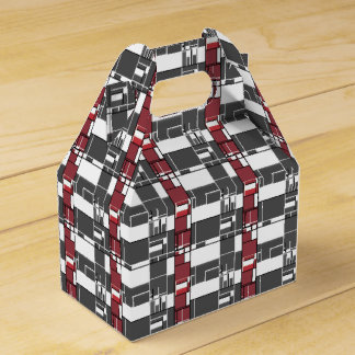 Gray, White, Red Geometric Abstract Favour Box