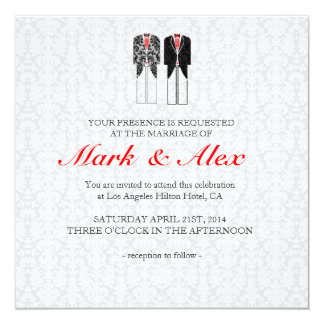 Gray White & Red Same-Sex Couples Wedding Invite