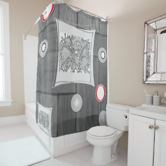gray white red showercurtain shower curtain