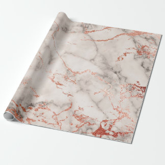 Gray White Rose Gold Pink Marble Stone Brushes Wrapping Paper