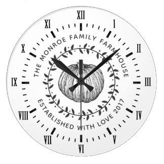 Gray & White Rustic Pumpkin Wreath Large Clock