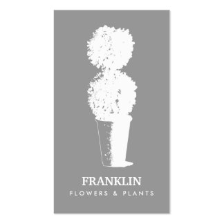 GRAY & WHITE SHADOWED TOPIARY LOGO Business Card Pack Of Standard Business Cards
