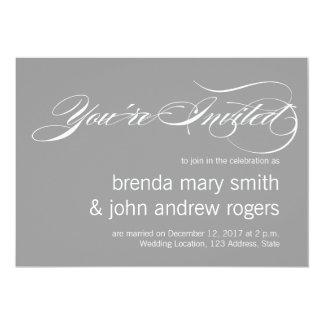 Gray White Simple Script Modern Wedding Invitatioa 13 Cm X 18 Cm Invitation Card