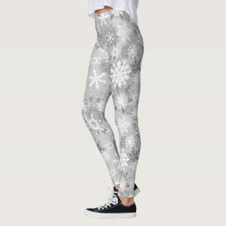 Gray white snowflake pattern leggings Christmas
