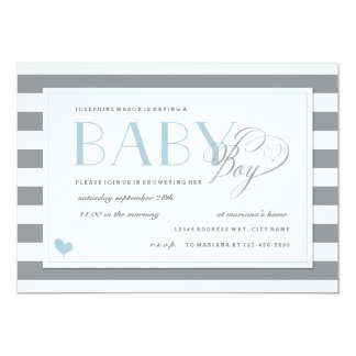 Gray & White Stripe Baby Boy Shower Blue Accents Card