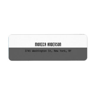 Gray White Striped Professional Contemporary Return Address Label