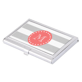 Gray White Stripes Pattern, Coral Monogram Business Card Holder