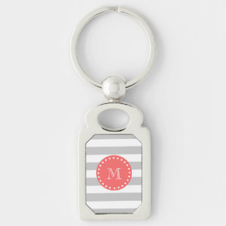 Gray White Stripes Pattern, Coral Monogram Silver-Colored Rectangle Key Ring