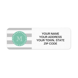 Gray White Stripes Pattern, Mint Green Monogram Return Address Label