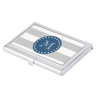 Gray White Stripes Pattern, Navy Blue Monogram Business Card Holder