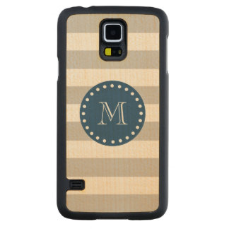 Gray White Stripes Pattern, Navy Blue Monogram Carved Maple Galaxy S5 Case