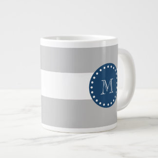 Gray White Stripes Pattern, Navy Blue Monogram Large Coffee Mug