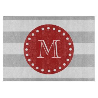 Gray White Stripes Pattern, Red Monogram Cutting Board