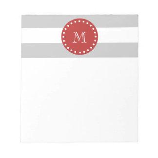 Gray White Stripes Pattern, Red Monogram Notepad