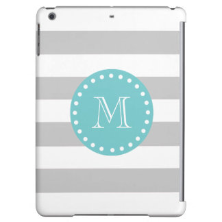 Gray White Stripes Pattern, Teal Monogram