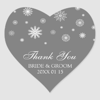 Gray White Thank You Winter Wedding Favor Tags Heart Sticker