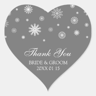 Gray White Thank You Winter Wedding Favor Tags Heart Sticker