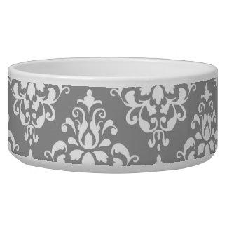 Gray White Vintage Damask Pattern 1 Dog Water Bowl