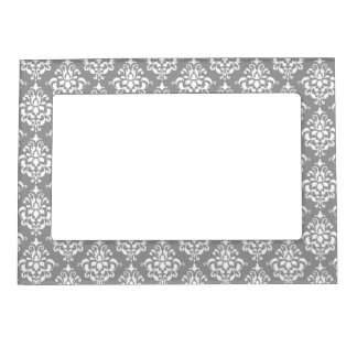 Gray White Vintage Damask Pattern 1 Magnetic Frame