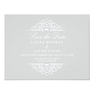 Gray & White Vintage Scroll Wedding Save The Date Card