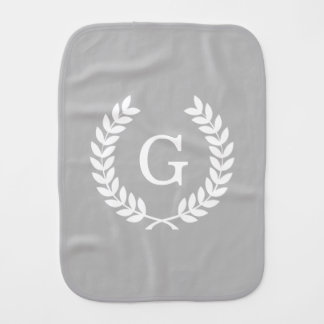 Gray White Wheat Laurel Wreath Initial Monogram Baby Burp Cloth