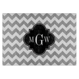 Gray Wht Chevron Black Quatrefoil 3 Monogram Cutting Board