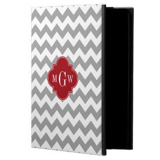Gray Wht Chevron Cranberry Quatrefoil 3 Monogram Cover For iPad Air
