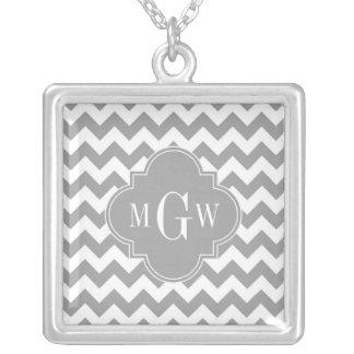 Gray Wht Chevron Dk Gray Quatrefoil 3 Monogram Silver Plated Necklace