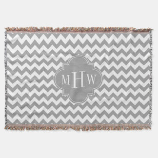 Gray Wht Chevron Dk Gray Quatrefoil 3 Monogram Throw Blanket