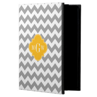 Gray Wht Chevron Goldenrod Quatrefoil 3 Monogram iPad Air Cover