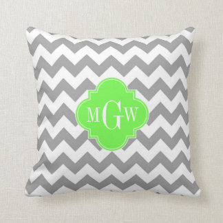 Gray Wht Chevron Lime Quatrefoil 3 Monogram Cushion