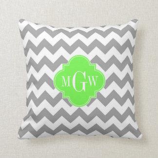 Gray Wht Chevron Lime Quatrefoil 3 Monogram Throw Pillow