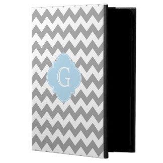 Gray Wht Chevron Lt Blue Quatrefoil Monogram Cover For iPad Air