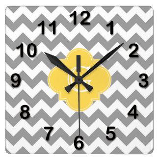 Gray Wht Chevron Mustard Quatrefoil Monogram Square Wall Clock