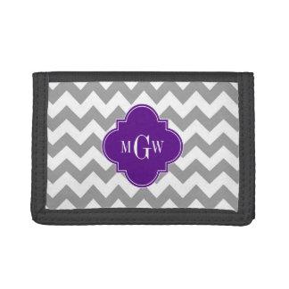 Gray Wht Chevron Purple Quatrefoil 3 Monogram Trifold Wallet