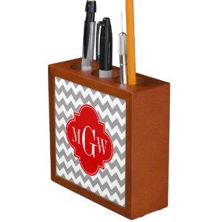 Gray Wht Chevron Red Quatrefoil 3 Monogram Desk Organiser
