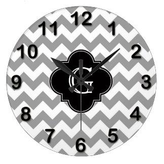 Gray Wht Chevron ZigZag Black Quatrefoil Monogram Clocks