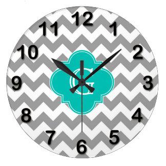 Gray Wht Chevron ZigZag Teal Quatrefoil Monogram Large Clock