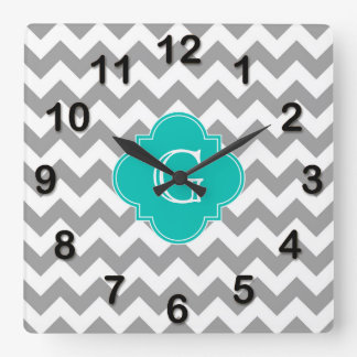 Gray Wht Chevron ZigZag Teal Quatrefoil Monogram Square Wall Clock