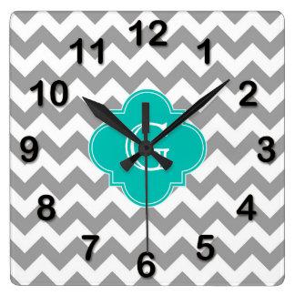 Gray Wht Chevron ZigZag Teal Quatrefoil Monogram Wall Clocks