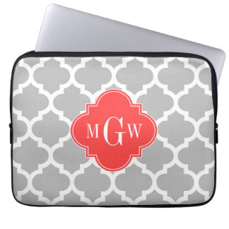 Gray Wht Moroccan #5 Coral Red 3 Initial Monogram Laptop Sleeve