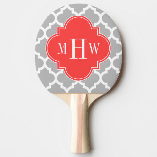 Gray Wht Moroccan #5 Coral Red 3 Initial Monogram Ping Pong Paddle